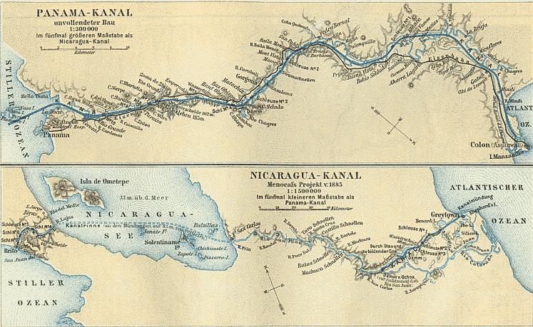 Historische Karte von Panamakanal und Nicaraguakanal von 1888