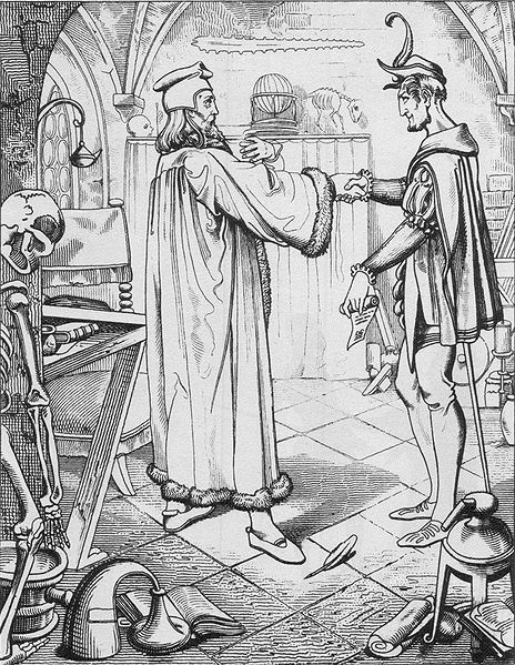 """Faust's pact with Mephisto, engraving by Julius Nisle after Goethe's """"Faust"""""""