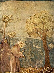 Franziskus predigt zu den Vögeln (Darstellung einer Legende aus den Fioretti von Giotto di Bondone, um 1295)