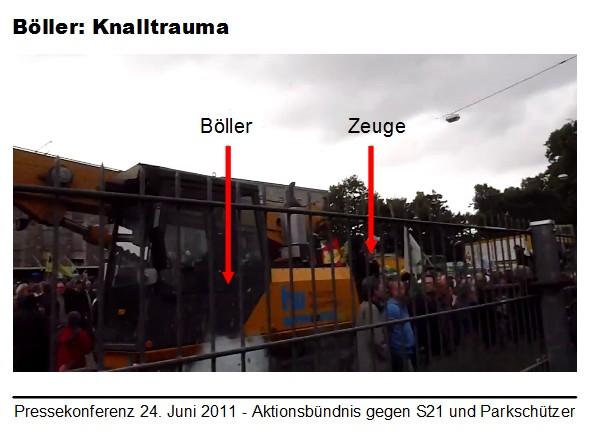 Stuttgart 21: Der Böller und ein anwesender Zeuge (markiert)