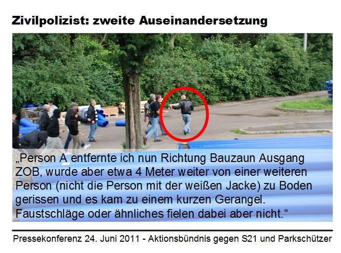 Stuttgart 21: Zivilpolizist I entfernt sich, Zeugenaussage