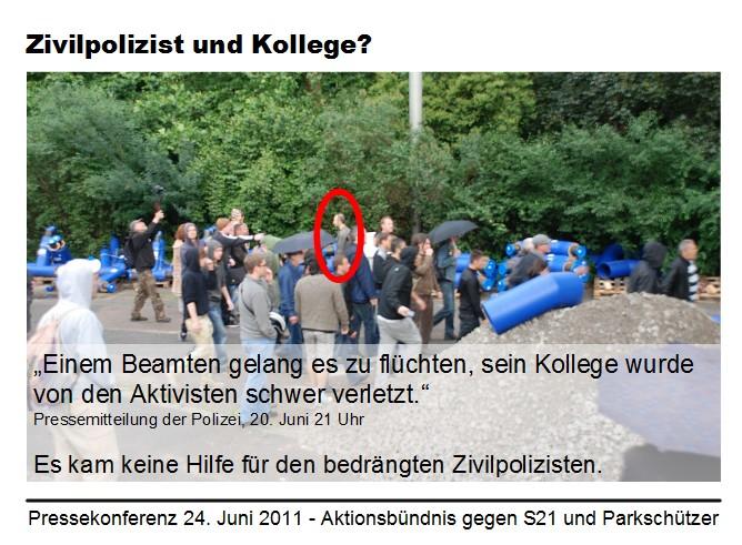 Stuttgart 21: Zivilpolizist II entfernt sich aus Menge, Zitat Darstellung der Polizei