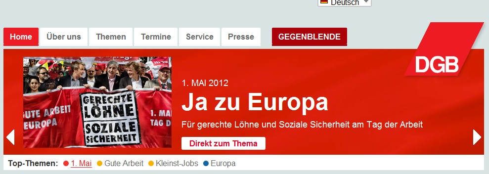 DGB Seite am 1. Mai 2012