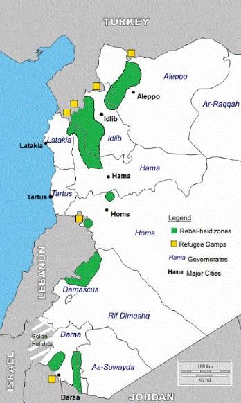 Syrien Karte Krieg.Karte Vom Frontverlauf Im Syrien Krieg Invasoren In Ungünstiger