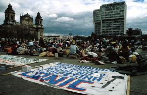 Proteste der indigenen Bevšlkerung, Plaza Mayor, Guatemala City