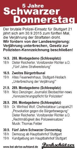 Veranstaltungen der Buergerbewegung gegen Stuttgart 21 zum Fünften Jahrestag vom Schwarzen Donnerstag