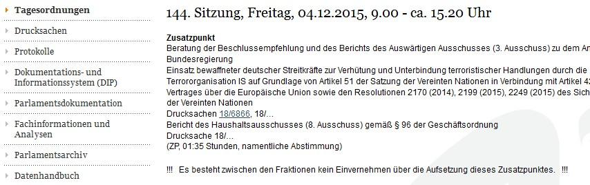 """02.12.15: Tagesordnung Bundestag am 04.12.2015 """"nicht im Einvernehmen"""" der Fraktionen erstellt"""