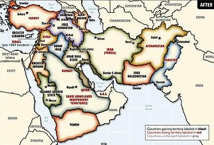 Strategische Pläne des US-Militärs aus 2006 für Neuordnung Vorderasiens, Grafik